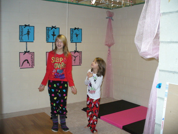 dance and gymnastic room, This is a room in our unfinished basement that we transformed into our daughters' own dance and gymnastic practice room as a Christmas present., The big reveal      , Girls' Rooms Design