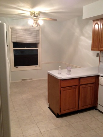 Remodeled White Kitchen!, We removed an existing wall between the family room and kitchen to open up the space.  2 months later, this is what we got!  Now we just need furniture!, Old eating space.  Fridge is here now.   , Kitchens Design