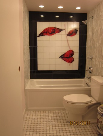 Wow-Factor Arty Bathroom, This is the one of a kind bathroom, designed and created from my own artwork and then have it transferred into glass mural.   I am a minimalist.  However, the artyliving is one of the key elements existing everywhere  in my living space beyond living room, kitchen, bedroom, office, now into the bathrooms. I see the hall bath wall as a huge art-canvas to extend our living space, now the hall bath becomes the art- display room. Stay tuned to see my arty master bathroom renovation - it will become a master suite and another art display room.  Arty factor motivates me to minimize the materials while maximize the visual effect., Simple, stunning and spectacular bathroom          , Bathrooms Design