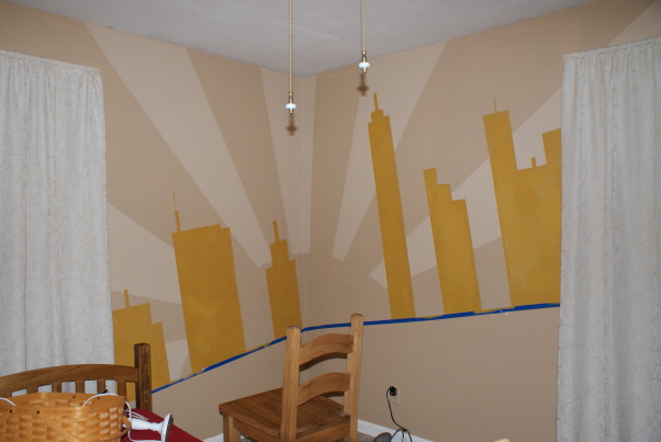 City Scape Kids Room, City Scape Makeover, Painted on the city scape on an angle above the blue painters tape, Bedrooms Design