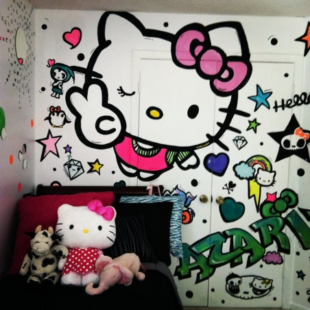 "Hello Kitty, My 8 year old daughter wanted a ""Hello Kitty"" room that was fun and full of color~ this is what I've done so far..., Hello Kitty mural , Girls' Rooms Design"