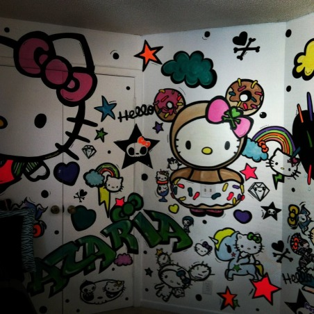 "Hello Kitty, My 8 year old daughter wanted a ""Hello Kitty"" room that was fun and full of color~ this is what I've done so far..., second part of mural~ it wraps around three walls , Girls' Rooms Design"