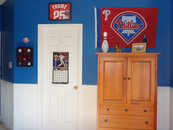 "Phillies ""phan"" bedroom for a 6 year old boy, After having lived in Philly for just over a year, my 6 year old son wanted a Phillies room.  He was delighted with how it turned out., A few other Phillies items we had to add to the decor, along with a few of my son's other items that ""had"" to stay (bowling pin from his birthday).  , Boys' Rooms Design"