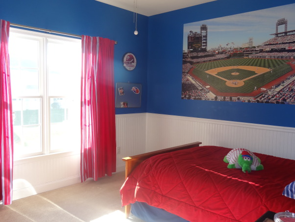 "Phillies ""phan"" bedroom for a 6 year old boy, After having lived in Philly for just over a year, my 6 year old son wanted a Phillies room.  He was delighted with how it turned out., Curtains from Pottery Barn, pulled the colors together nicely., Boys' Rooms Design"