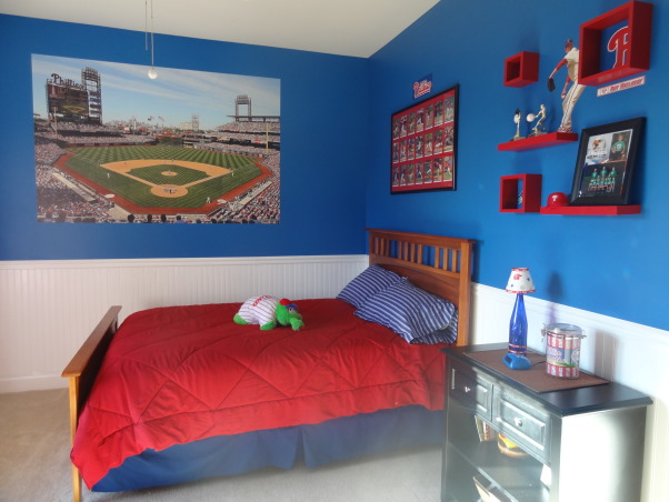 "Phillies ""phan"" bedroom for a 6 year old boy, After having lived in Philly for just over a year, my 6 year old son wanted a Phillies room.  He was delighted with how it turned out., The Citizens Bank Park Fathead was the inspiration for the room..and a surprise for my son - he LOVES it!, Boys' Rooms Design"