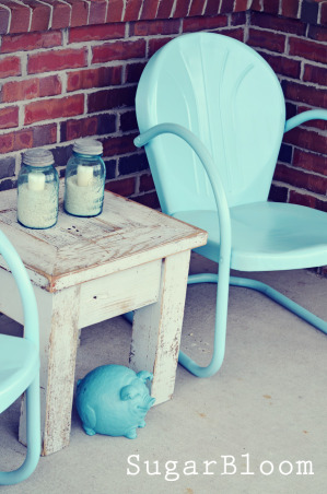 My cute little porch!, Tried to transform our boring old porch to something a little more welcoming.  I love color & wanted to brighten up the boring neutral colors., We refinished these adorable antique metal porch chairs & I just love them!, Porches Design