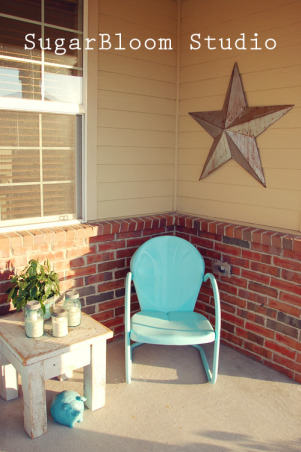 My cute little porch!, Tried to transform our boring old porch to something a little more welcoming.  I love color & wanted to brighten up the boring neutral colors., Metal antique star I found!, Porches Design