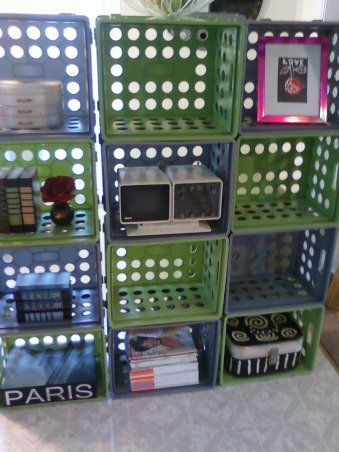 storage and organization,  storage crates, gray and green plastic crates connected to make fun shelf, Other Spaces Design