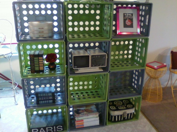 storage and organization,  storage crates, shelf made with inexpensive crates, Other Spaces Design