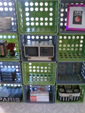 storage and organization,  storage crates, crate shelf, spent only $12.00, Other Spaces Design