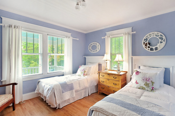 Bungalow Bedrooms, Bedrooms restored, headboards are original mantels from old victorian home next door. Lots of natural light filters in., 1935 Bungalow restored. Bedroom is filled with natural light. Headboards are from old victorian home next door. period trim and crown, Bedrooms Design