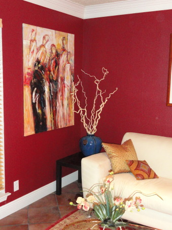 Burgundy Living Room, Burgundy walls, cream sofa, gold accents. Contemporary with Asian accessories., Living Rooms Design