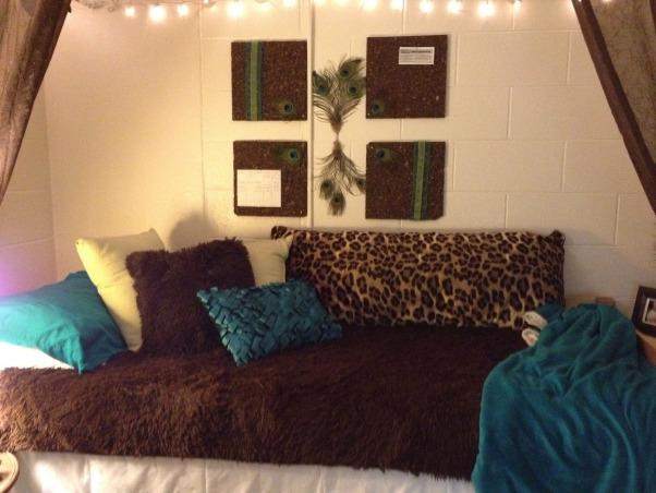 Peacock Room, Last year my dorm room had a zebra theme.. but i decided to do something different this year. Everyone was doing the zebra/cheetah theme..., Dorm Rooms Design