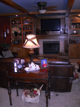 Traditional great room, A place to watch a movie or read a book, maybe just have a glass of wine next to the fire or roast a marshmallow., Used a old spinet desk for a sofa table as I need it higher up for my lamp.   , Living Rooms Design