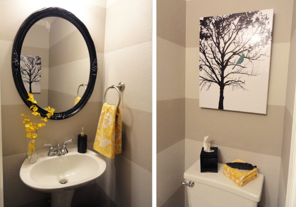 Grey and Yellow Powder Room, I wanted something bright and clean for our very small half bath. I love the grey and yellow combo. Towels are from World Market, Canvas from Hobby Lobby. The mirror came with the house when we bought it, I just spray painted it glossy black., Bathrooms Design