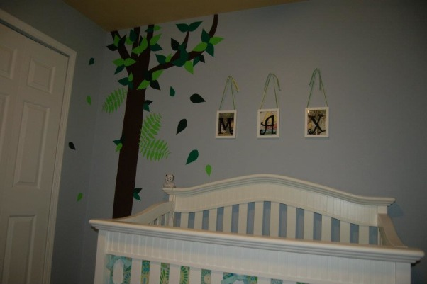 Max's Where the Wild Things Are Jungle Nursery, Baby Boy Nursery with Blue, Aqua and Lime Green Nursery featuring the theme from the children's book Where the Wild Things Are.  Room color- is painted Iced slate by Benjamin Moore (we used the Natura paint with zero VOC). Crib- is BabiItalia Eastside Lifestyle Classic in White, sold at Babies R Us.  Curtains- My mom created grommet curtains with the same fabric that was used in the crib bedding. I like it since we have to take out the bumper (safety issues) so we will still have that pretty fabric in the room. The grommets and curtain rod are from Joann Fabrics.  I purchased the fabric via amazon.  Crib bedding- was customized and made by a talented Etsy shop owner, Cottage Belles.  Max letters above crib- were created by my sister and used scenes from Where the Wild Things Are books in the background. Giraffe and elephant- were purchased from Amazon. Lime green circles rug circles- were purchased at IKEA.  Book Shelf Holders- are actually picture frame ledges that we bought at IKEA.  Max name books- were thought of by my talented sister and purchased via Amazon Glider- Little Castle Enchanted Embassy Glider Plush Taupe Glider and Ottoman from walmart.com Closet- The shelves, drawers and baskets came from IKEA.  Closet Paint Color- Valspara Can not Miss Lime from Lowes. The clothes hanging rods came from Lowes. More details- http://davidandjenw.blogspot.com/search/label/Nursery, The crib area , Nurseries Design