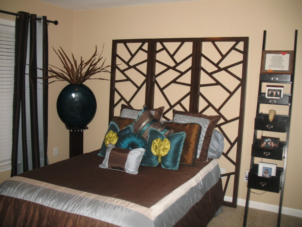 Relaxing but Beautiful Bedrooms, The best bedroom is one that is relaxing, comfortable and beautiful.  , Found a room divider and used it as a headboard.  , Bedrooms Design