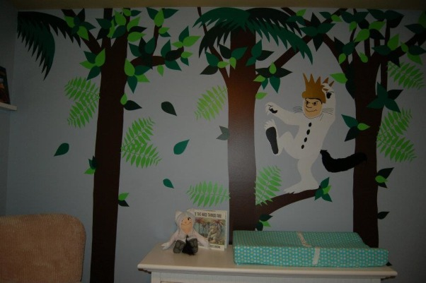 Max's Where the Wild Things Are Jungle Nursery, Baby Boy Nursery with Blue, Aqua and Lime Green Nursery featuring the theme from the children's book Where the Wild Things Are.  Room color- is painted Iced slate by Benjamin Moore (we used the Natura paint with zero VOC). Crib- is BabiItalia Eastside Lifestyle Classic in White, sold at Babies R Us.  Curtains- My mom created grommet curtains with the same fabric that was used in the crib bedding. I like it since we have to take out the bumper (safety issues) so we will still have that pretty fabric in the room. The grommets and curtain rod are from Joann Fabrics.  I purchased the fabric via amazon.  Crib bedding- was customized and made by a talented Etsy shop owner, Cottage Belles.  Max letters above crib- were created by my sister and used scenes from Where the Wild Things Are books in the background. Giraffe and elephant- were purchased from Amazon. Lime green circles rug circles- were purchased at IKEA.  Book Shelf Holders- are actually picture frame ledges that we bought at IKEA.  Max name books- were thought of by my talented sister and purchased via Amazon Glider- Little Castle Enchanted Embassy Glider Plush Taupe Glider and Ottoman from walmart.com Closet- The shelves, drawers and baskets came from IKEA.  Closet Paint Color- Valspara Can not Miss Lime from Lowes. The clothes hanging rods came from Lowes. More details- http://davidandjenw.blogspot.com/search/label/Nursery, The changing table area , Nurseries Design