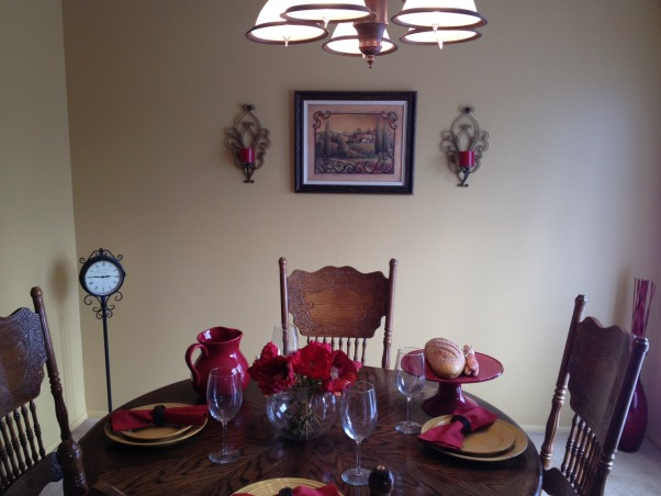 Tuscan Dining Room, Tuscan Dining Room with Yellow and Red and a Poppy Print and Sconces., Dining Rooms Design