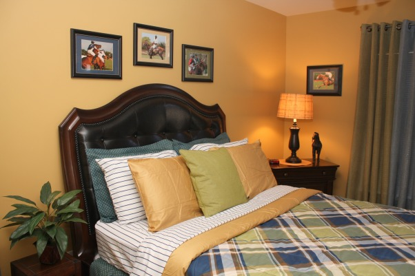 Polo Inspired, Bold, yet inviting mature male bedroom., After - close up of newly transformed room  , Bedrooms Design