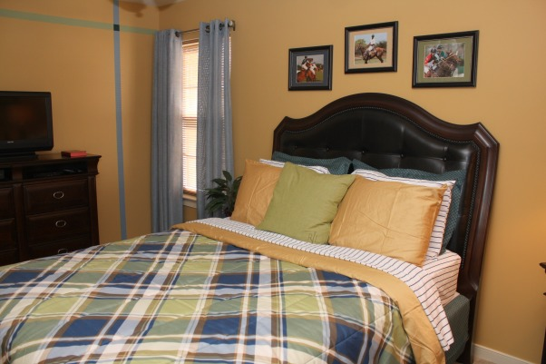 Polo Inspired, Bold, yet inviting mature male bedroom., After - left side of room  , Bedrooms Design