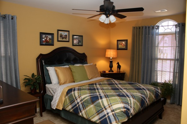 Polo Inspired, Bold, yet inviting mature male bedroom., After - the Transformation (right side of room)  , Bedrooms Design