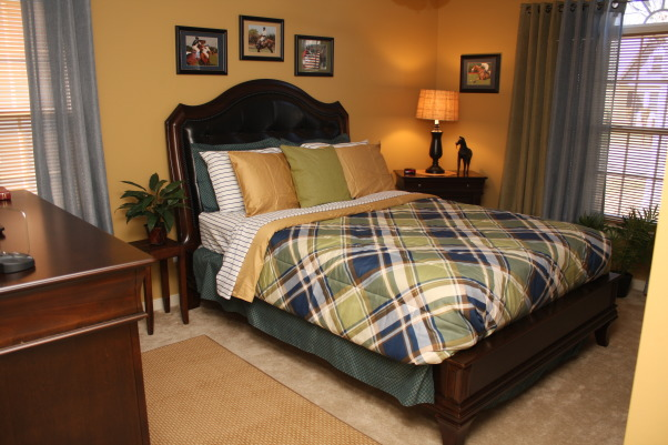 Polo Inspired, Bold, yet inviting mature male bedroom., After - young male adults room, or inviting guest room transformed. , Bedrooms Design