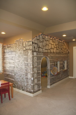 The Ultimate Playroom!, This space is our children's playroom. This playroom is for both boys and girls - and even fun-loving adults!, Another look at the boys cabin playhouse! Real windows and lights on the inside too! , Other Spaces Design