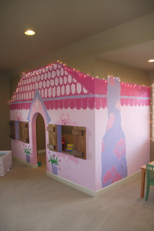 The Ultimate Playroom!, This space is our children's playroom. This playroom is for both boys and girls - and even fun-loving adults!, Here is another look at the girls cottage playhouse. Again, real windows and lights inside! , Other Spaces Design