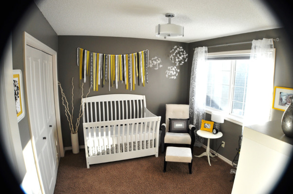 Gray and Yellow Nursery, This peaceful gray, yellow and white nursery was created for my daughter Avery. Aside from the furniture, the majority of the work is DIY or repurposed. For more detailed information please go to http://thedomesticproject.blogspot.ca/2012/03/averys-nursery.html ., Looking in from the door  Crib & Dresser: AP Industries Rocking Chair: Off Your Rocker  Bookshelf, Nightstand, Crib Skirt Fabric & Curtains: Ikea , Nurseries Design
