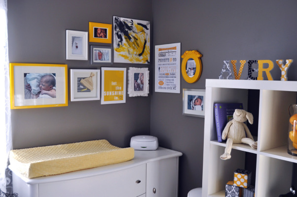 "Gray and Yellow Nursery, This peaceful gray, yellow and white nursery was created for my daughter Avery. Aside from the furniture, the majority of the work is DIY or repurposed. For more detailed information please go to http://thedomesticproject.blogspot.ca/2012/03/averys-nursery.html ., Photo Wall  The ""abstract art"" was created by my then-2 year old son as a present for his new baby sister.  , Nurseries Design"