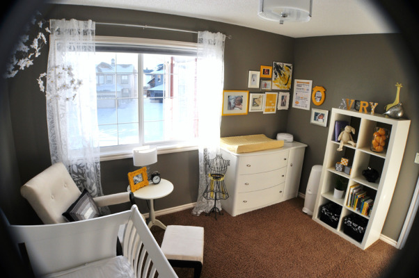 Gray and Yellow Nursery, This peaceful gray, yellow and white nursery was created for my daughter Avery. Aside from the furniture, the majority of the work is DIY or repurposed. For more detailed information please go to http://thedomesticproject.blogspot.ca/2012/03/averys-nursery.html ., Another view , Nurseries Design