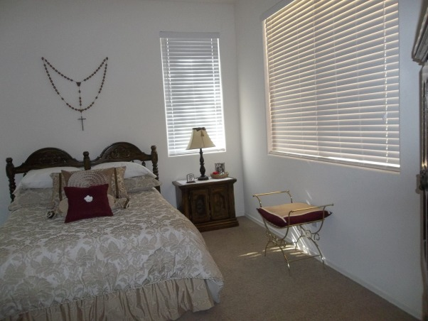 CHARMING MASTER, COMFORTABLE SPACIOUS AIRY SPACE WITH BIT OF COLOR,FURNITURE 40 YEARS OLD., LITTLE BENCH FROM THRIFT STORE $2-MADE BEDSKIRT, Bedrooms Design