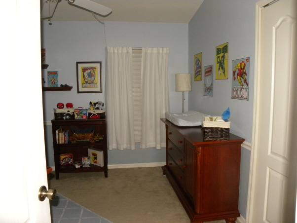 Vintage Superhero Baby, We had never seen anyone else do a super hero nursery and we decided our boy deserved the first!!! Much hard work and it came to be :), I wanted a room that would grow with our boy. My husband and Dad put up doors to the room and chair molding , Nurseries Design
