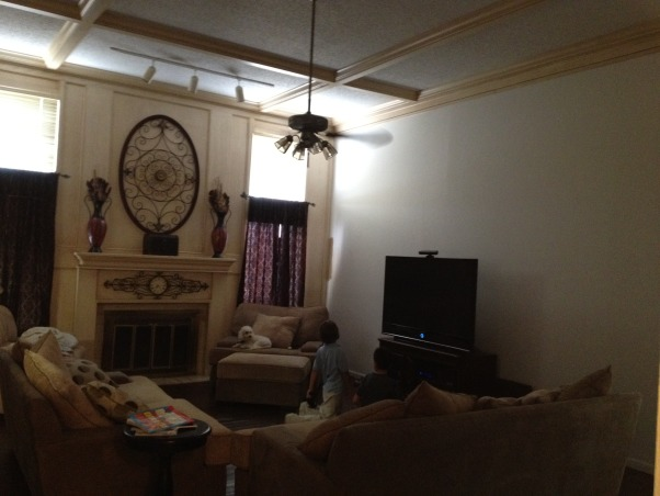 HELP me paint my livingroom!!, 12' ceilings, one full wall of picked out or white washed. 3 other walls are white. I need help with what to do for curtains, should i start at top of celing and go all the way down. ..... to have one full curtain for the 2 windows on each side? also what color of walls can I paint this to make it look good with that pickled oak? I hate the pickled oak, but I am hoping by painting I can get over it because I dont have the time/money to restain it. My house is neutral colors, browns and some reds. , wall on left is pickled wood, or white washed, other 3 walls are white. need help paiting the walls to take away the yellow in the walls. 12' ceilings.  , Living Rooms Design