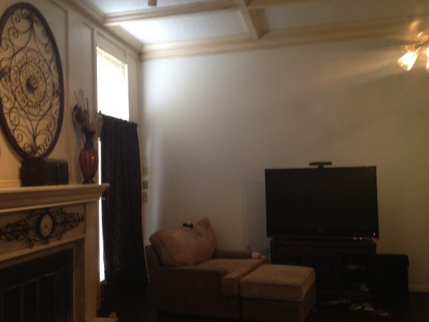 HELP me paint my livingroom!!, 12' ceilings, one full wall of picked out or white washed. 3 other walls are white. I need help with what to do for curtains, should i start at top of celing and go all the way down. ..... to have one full curtain for the 2 windows on each side? also what color of walls can I paint this to make it look good with that pickled oak? I hate the pickled oak, but I am hoping by painting I can get over it because I dont have the time/money to restain it. My house is neutral colors, browns and some reds. , Living Rooms Design