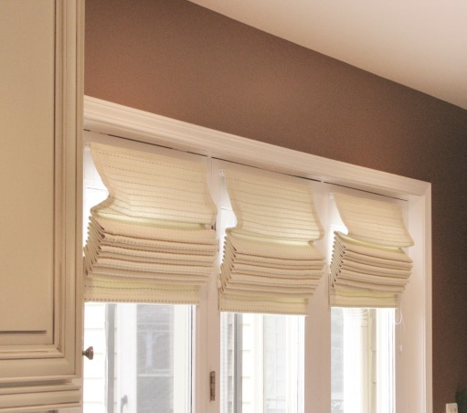 Dark and Gloomy to Bright and Open, French Country Kitchen Remodel.  Reposted as we made a few changes since the first post.  Great experience working with Kitchen Discounters of America in Lake Zurich, IL http://www.kitchen-discounters.com/ , Roman Shades over French Doors in Kitchen.  , Kitchens Design