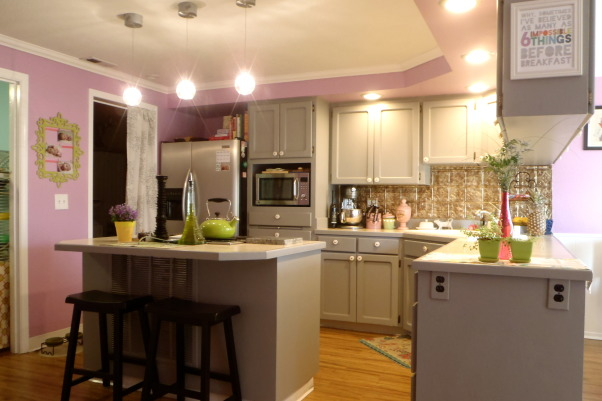& feminine , purple walls & grey painted cabinets , Kitchens Design