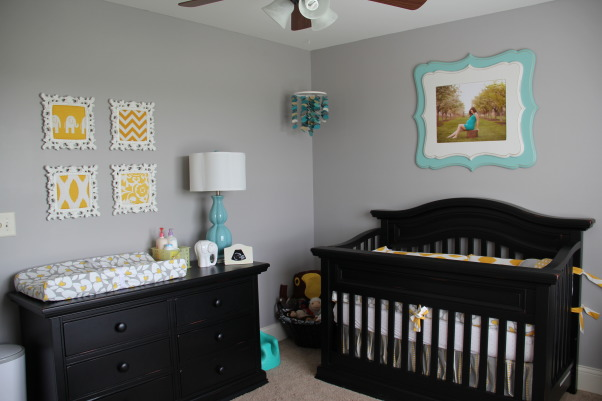 Yellow, Grey and Teal Gender Neutral Nursery, A gender neutral nursery that is calm and relaxing. , Furniture: Bonavita Sheffield Collection  , Nurseries Design