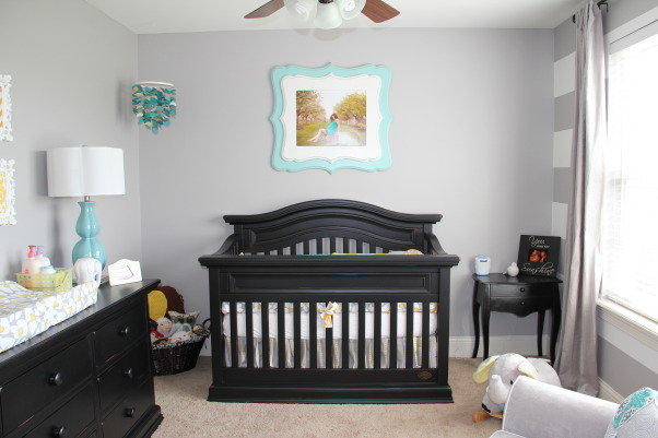 Yellow, Grey and Teal Gender Neutral Nursery, A gender neutral nursery that is calm and relaxing. , Color: Benjamin Moore San Antonio Grey  , Nurseries Design