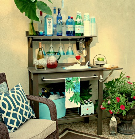 Potting Bench Turned Outdoor Bar, After not having any luck finding an outdoor bar/serving area, I transformed this inexpensive potting bench into an outdoor bar.  I simply added a few hardware pieces and I am ready for summer entertaining.  I describe the transformation of this piece on my blog at http://www.thecreativityexchange.com/2012/05/potting-bench-turned-outdoor-bar.html, Potting Bench Turned Outdoor Bar, Patios & Decks Design