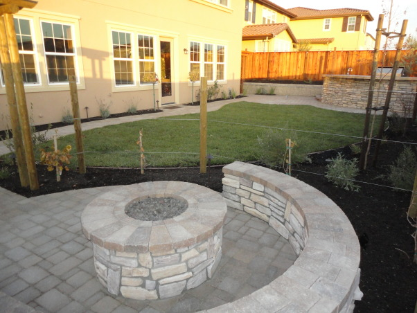 Outdoor Bar, Fire Pit, and Mini Vineyard, This is my husband's dream backyard.  It includes an outdoor bar & cooking area, BBQ, fire pit, & mini vineyard.  One day we will have patio furniture and chairs by the fire pit, but one thing at a time!, backyard view from fire pit when yard was first completed.  need to add a recent picture of all the beautiful rose bushes and plants against our house that my husband has been adding and maintaining for several months!       , Yards Design