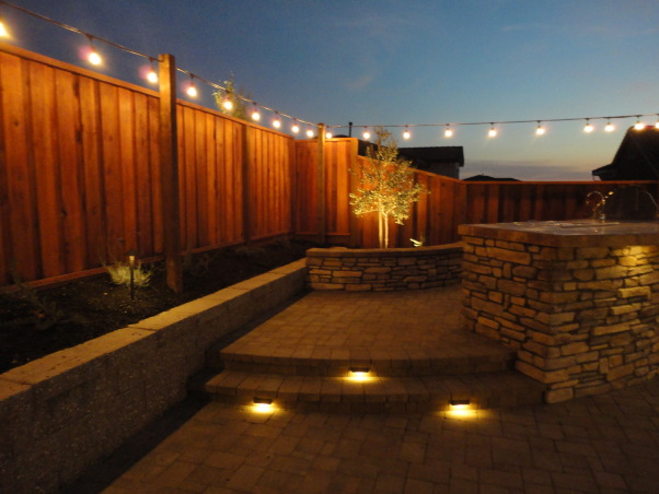 Outdoor Bar, Fire Pit, and Mini Vineyard, This is my husband's dream backyard.  It includes an outdoor bar & cooking area, BBQ, fire pit, & mini vineyard.  One day we will have patio furniture and chairs by the fire pit, but one thing at a time!, lighted steps           , Yards Design