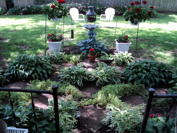 Porches and garden, Hostas shade garden and back porch, Garden for shade plants , Porches Design