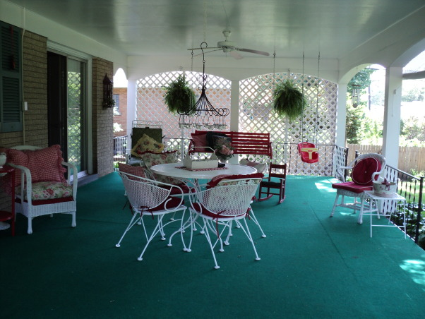 Porches and garden, Hostas shade garden and back porch, More porch views , Porches Design