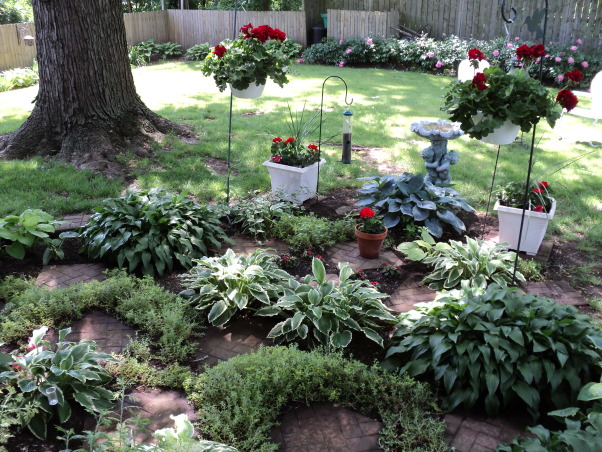 Porches and garden, Hostas shade garden and back porch, Shade garden , Porches Design