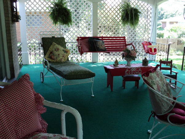 Porches and garden, Hostas shade garden and back porch, Porch , Porches Design