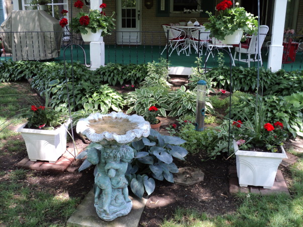 Porches and garden, Hostas shade garden and back porch, Hostas , Porches Design
