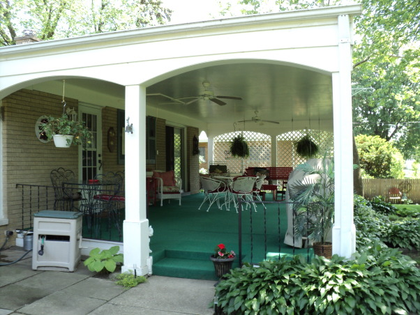 Porches and garden, Hostas shade garden and back porch, My back porch, mostly shade. , Porches Design