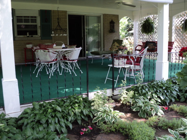 Porches and garden, Hostas shade garden and back porch, My porch , Porches Design